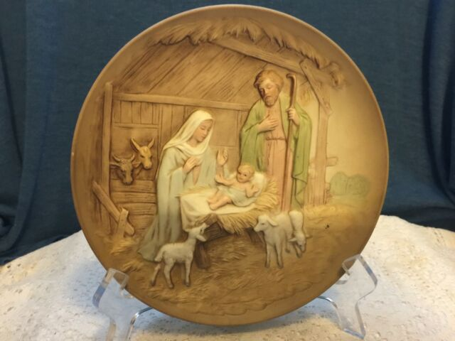Vtg Homco Home Interior Nativity Collectors Plate 5102 Raised Relief Christmas Ebay