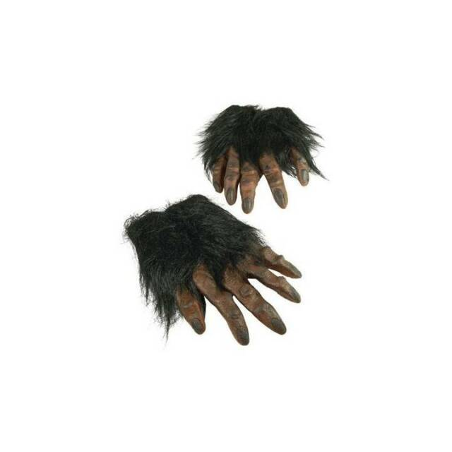 Black HAIRY GORILLA HANDS Animal Ape Chimp Monkey Adult Halloween Fancy Dress