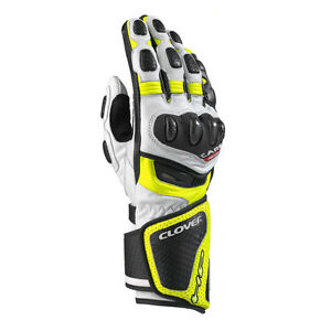 shopping speical offer best selling Details about Guanti Pelle moto CLOVER RS-8 BIANCO/GIALLO FLUO