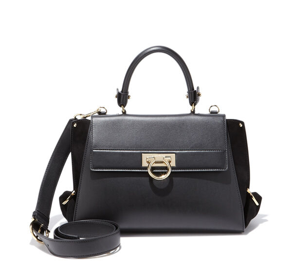 1e28ebf9fb 250 Salvatore Ferragamo Sofia Black Leather Satchel Shoulder Bag Purse for  sale online