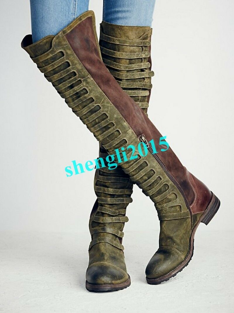 Womens Suede Leather Motorcycle Biker Thigh Boots Flats Knee High Boots Faux New