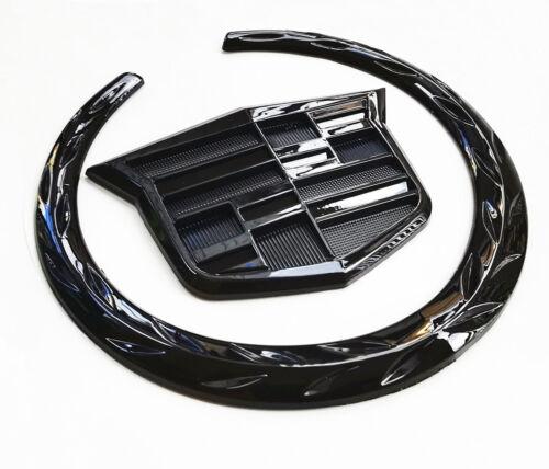 4Inch Black CADILLAC Rear Grille Emblem Wreath Crest Badge Logo Symbol Ornament
