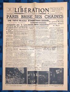 La-Une-Du-Journal-Liberation-Mardi-22-Aout-1944-Paris-Brise-Les-Chaines