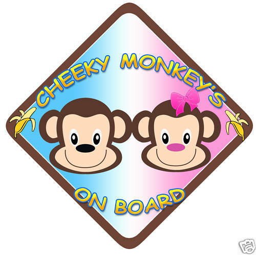 Child on Board Car sign Cheeky Monkey /'s Boy//Girl