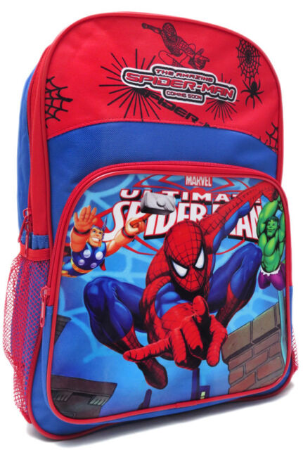 NEW LARGE BACKPACK BAG BLUE SPIDERMAN BOY CHILDREN SCHOOL DAYCARE PRESCHOOL M