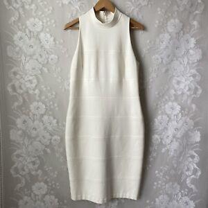 WHBM Ivory White Mock Neck Sleeveless Sheath Dress Stretch Lined Women's 12
