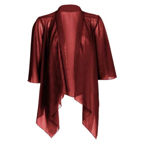 Le donne signore pianura maglia chiffon 3//4 manica Cascata Kimono Cardigan Bolero 8-26