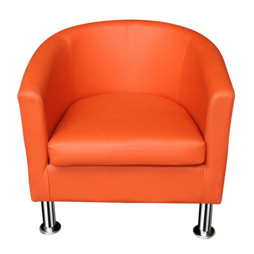 Modern Orange Faux Leather Tub Chair Armchair Home Cafe Shop Chairs For Adults