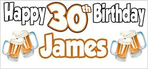Beer-30th-Birthday-Banner-x-2-Party-Decorations-Mens-Husband-Dad-Grandad-Son