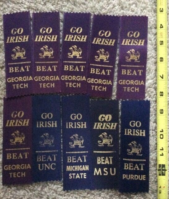 10 NOTRE DAME FOOTBALL GAME DAY RIBBONS: BEAT PURDUE, GEORGIA TECH, UNC, MSU