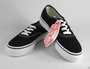 Vans-Authentic-Classic-Black-White-Shoes-Kids-Youth-Girls-Sneakers-VN-0EE0BLK