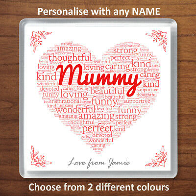 PERSONALISED PRINTED COASTER MUM NANNY GRAN MOTHERS DAY GIFT HEART SHAPE COASTER