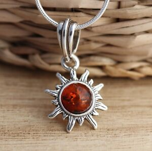 Cognac-Baltic-Amber-925-Sterling-Silver-Sun-Pendant-Jewellery-Chain-Necklace