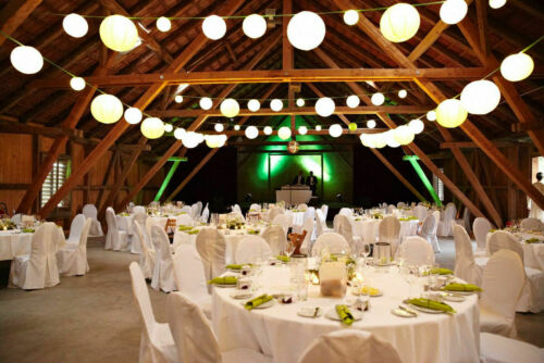 Lichterkette montiert Biergarten Illu-Fassung E27 Made in Germany  ab 5m grün