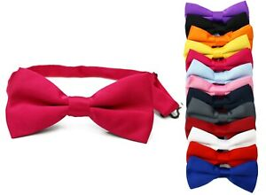 Classic-Mens-Womens-Clip-On-Banded-Bow-Tie-Pre-Tied-Plain-Dickie-Bowtie