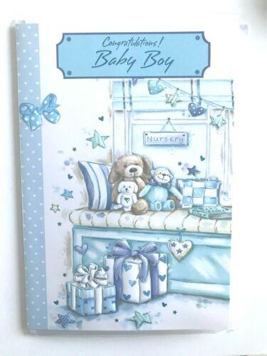 Tarjeta FELICITACIONES Nuevo Bebé Niño Azul Bebé Ducha Bebé Recién Nacido Tarjeta Azul
