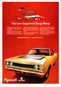 Plymouth road runner 68 mopar retro a3 poster print from advert 1968 image is loading plymouth road runner 68 mopar retro a3 poster freerunsca Images