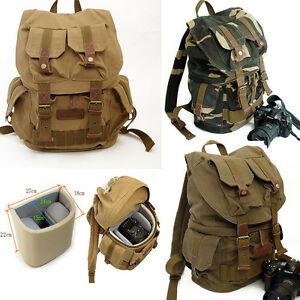 anti theft vintage canvas camera backpack fastpack laptop