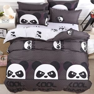 Panda-Print-Fashion-Coffee-Bedding-Set-Duvet-Cover-Sheet-Pillow-Case-Four-Piece