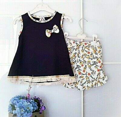 Toddler Kids Baby Girls Summer Floral Sleeveless T-Shirt Shorts with Belt Set UK