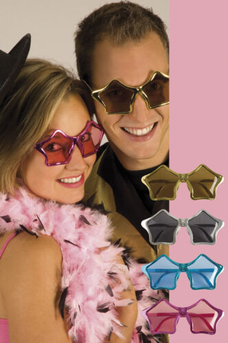 Fancy Dress Star Shaped Metallic Glasses Elton John 80/'s Rocket Man Plastic