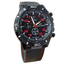 Montre Sport Racing Quartz Grand touring Rouge homme Bracelet silicone PROMO