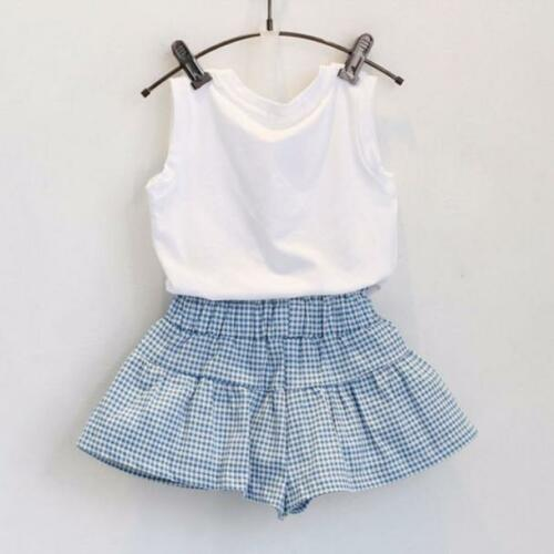 2 pcs Kids Girls Cute Bow Girl Shirt Top Blouse+Grid Shorts Pants Set Clothing