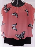 Women Ladies Chiffon ButterflyPrint Rib-Hem Cami Blouse Top Batwing Size S/M,XXL