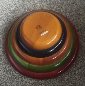 Pietro Manzoni Vietri Bergamo Italy Very Large Multi Colored Vintage Wooden Bowl Trinket Holder