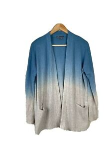 Vince-Womens-XS-Ombre-Open-Front-Cardigan-Sweater-Wool-Cashmere-Oatmeal-Blue