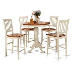 5 Piece Counter Height Dining Set-High Table And 4 Kitchen Chairs ...