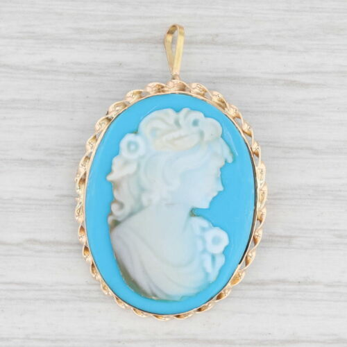 Blue Lady Resin Cameo Brooch