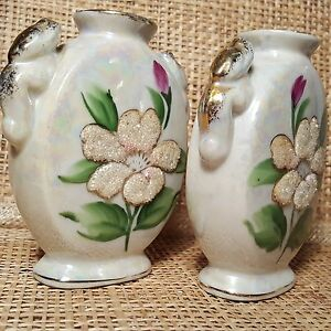 Vintage Opalescent MORIAGE Flower Hand Painted Salt & Pepper S&P Shakers w/Corks