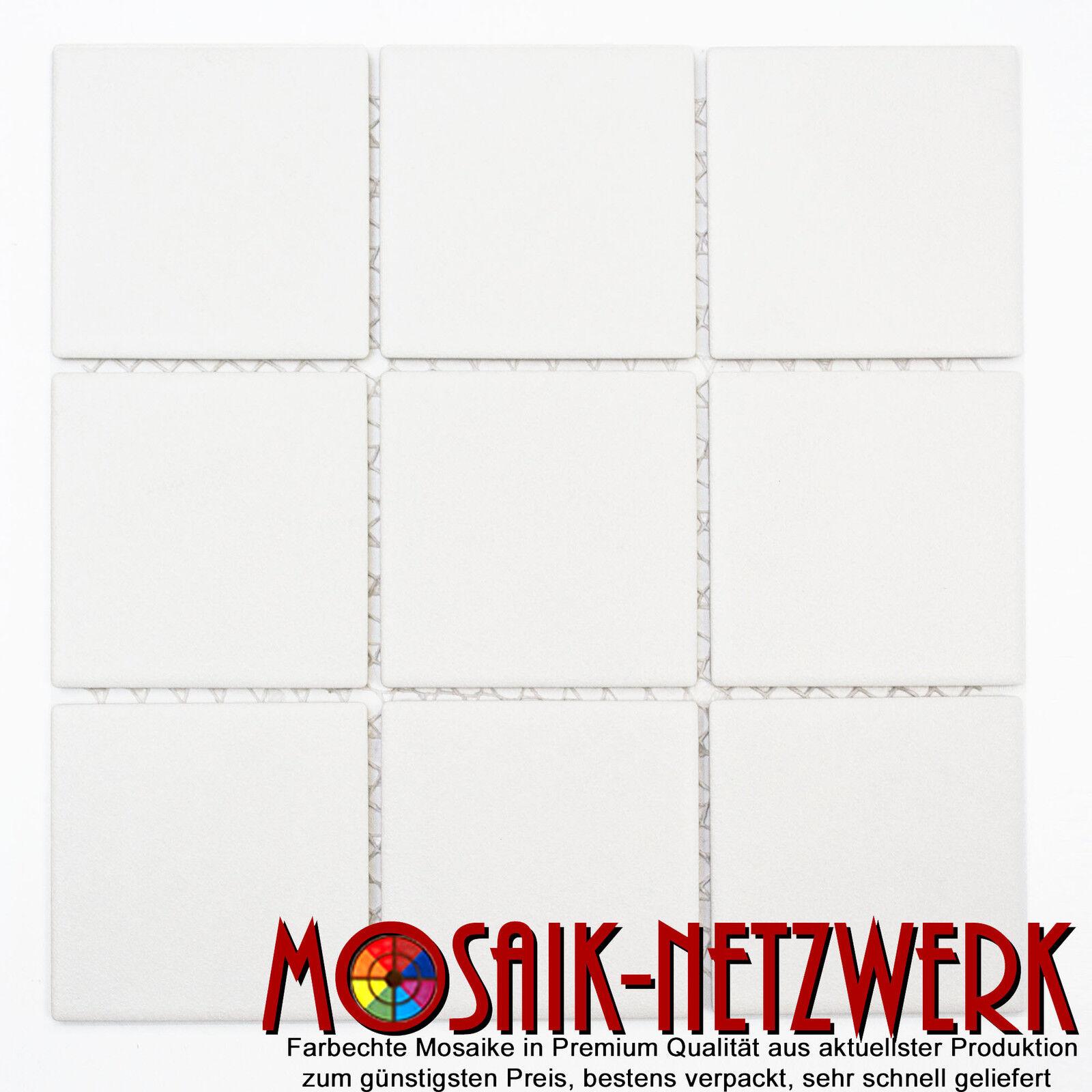 Mosaik uni weiß Keramik R10B rutschhemmend 97x97x6 Art  22-0102-R10_f   10 Bögen