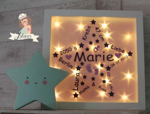 3D Leuchtrahmen personalisiertes Geschenk Geburt LED Lampe Taufe Nachtlicht