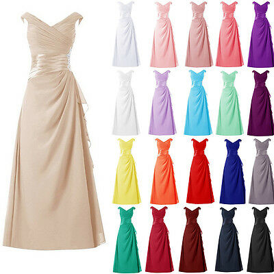 STOCK Long Chiffon Formal Prom Party Evening Wedding Bridesmaid Dress Size 6-22