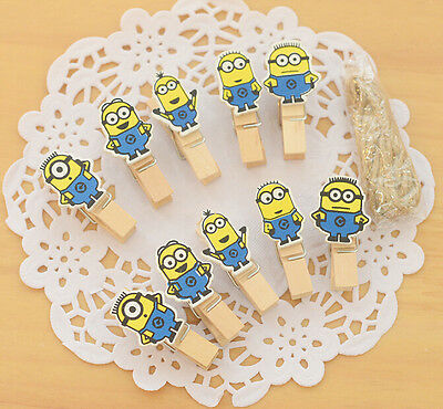 20 Cute Minions yellow wooden pegs craft deco card holder photo picture hanger