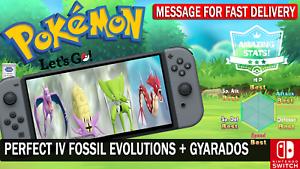 Pokemon-Let-039-s-GO-Shiny-Aerodactyl-Kabutops-Omastar-amp-Gyarados-6-IV