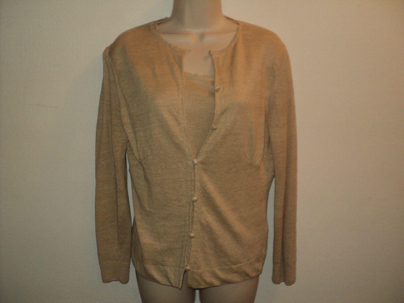 Lafayette 148 Petite Size Small Cardigan,Tank Sweater Twin Set Beige 100% Linen