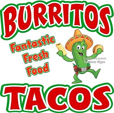 Choose Your Size Burritos Tacos DECAL Mexican Food Concession Food Sticker