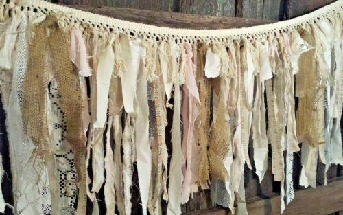 4ft D13 Lace Rags pink garland farmhouse Wedding decor burlap nursery curtain