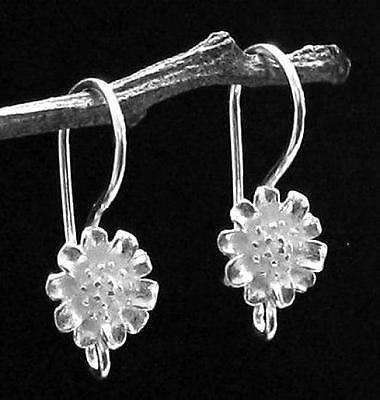 10 SterL Silver Sun Flower French Hook Earring Ear wire