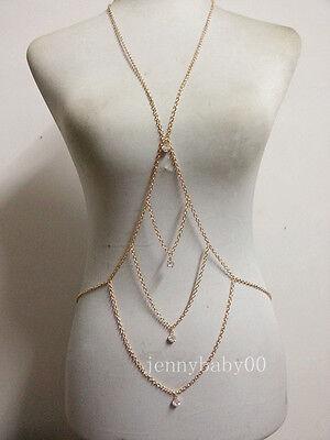 Fashion Women Rhinestone Sexy Gold Body Chain Necklace Slave Belly Belt Harness