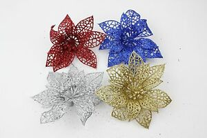 4x-10cm-Glitter-Poinsettia-Flower-Christmas-Wreath-Tree-Decorations-Xmas-Crafts