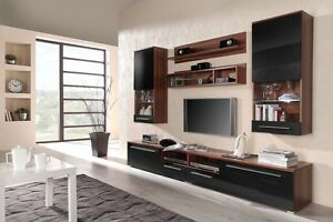 Details zu Wohnwand LUNA Anbauwand Wohnzimmer Möbel - Pflaume + Schwarz  Hochglanz