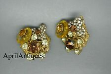 Vintage Miriam Haskell faux baroque pearl yellow glass beaded flower earrings
