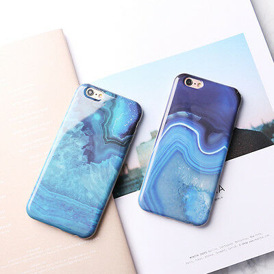 New Art Blue Granite Marble Glossy Couple Soft Case Cover for iPhone 6 6S 7 Plus