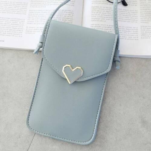 Creative Touchable Simple Mobile Phone Bag Heart Buckle Handbag Crossbody LH