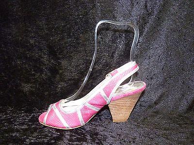 Para mujer Shellys Rosa Fucsia Peep Toe Zapatos Sandalia ESLINGA vuelta Size UK 5 EU 38