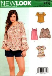 New Look Sewing Pattern 6451 Ladies Tops Blouses Shirt Size 10 22